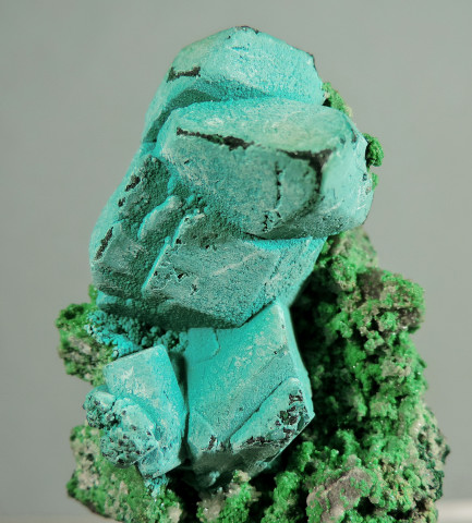 Rosasite on Malachite after Azurite, with Cerussite, Bayldonite