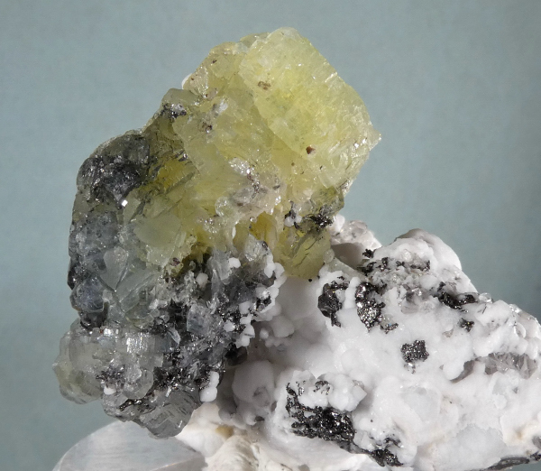 Prehnite with Calcite, Quartz, Graphite