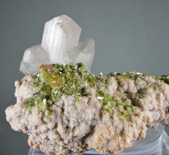 "Cerussite with Mimetite, Duftite on Dolomite ""Floater"""